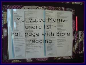 close up of chore list