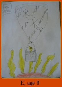 E hot air balloon framed
