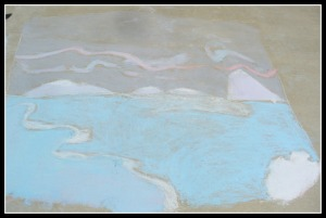 chalk drawing of AK skyline