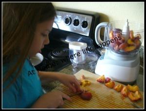 F - cutting peaches