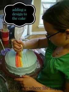 V design on cake