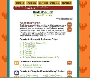 screen shot of links from main page