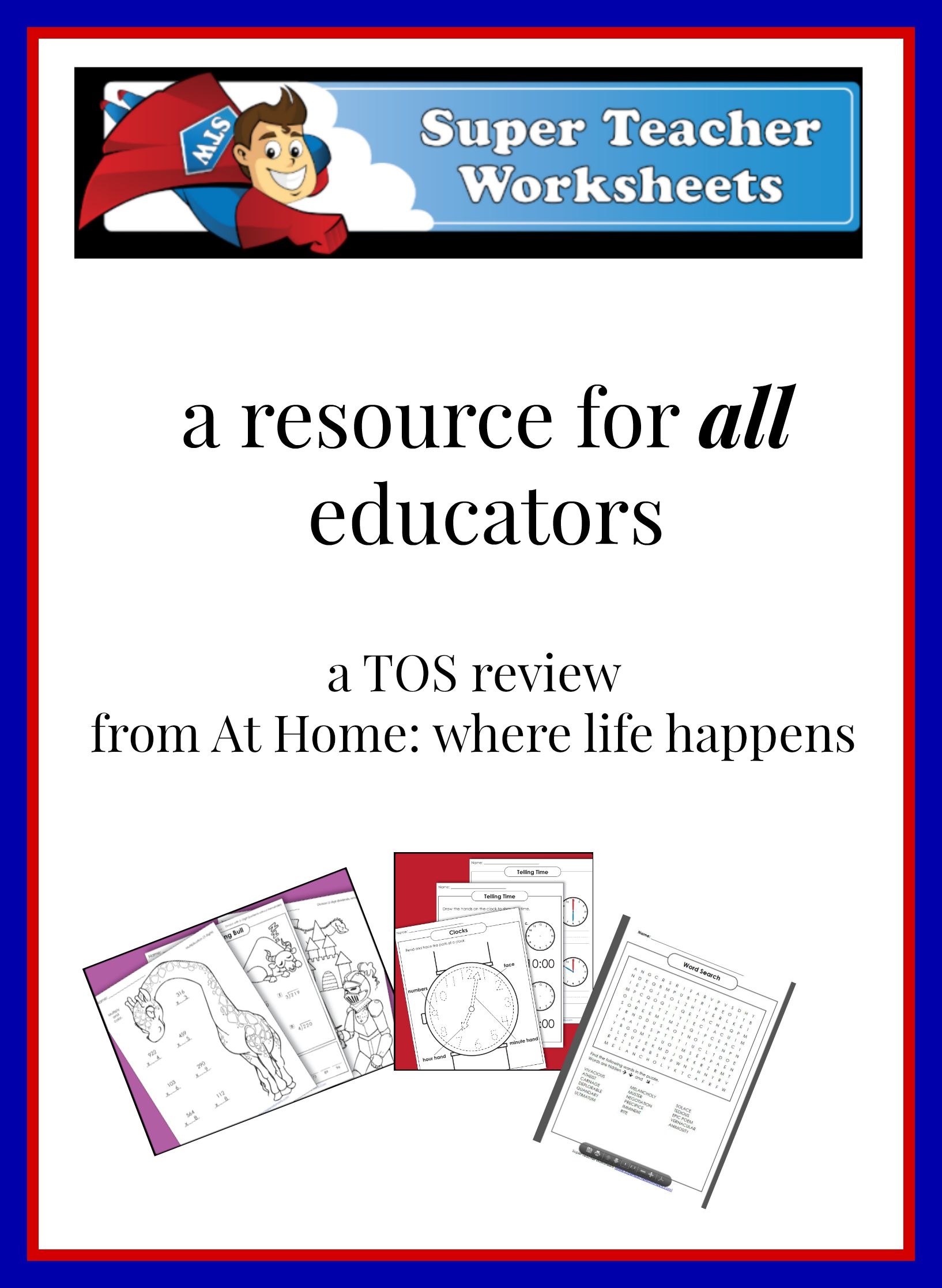 Worksheets Home 2015: Super Teacher Worksheets   a TOS review   At Home,