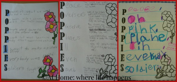 Poppies completed acrostics