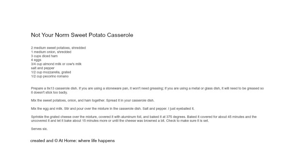 Not Your Norm Sweet Potato Casserole Recipe