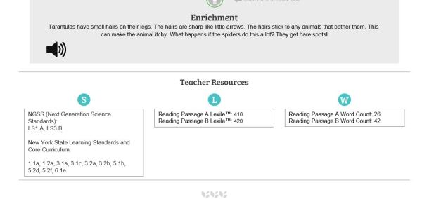sample of teacher information on reading passages