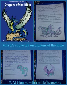 Dragons copywork collage