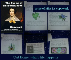 Emily Dickinson copywork collage