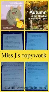 Miss J's copywork collage
