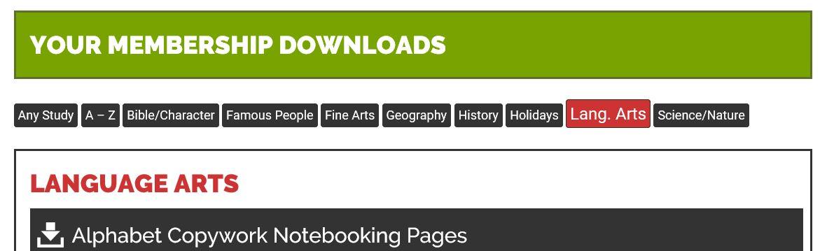 categories headings