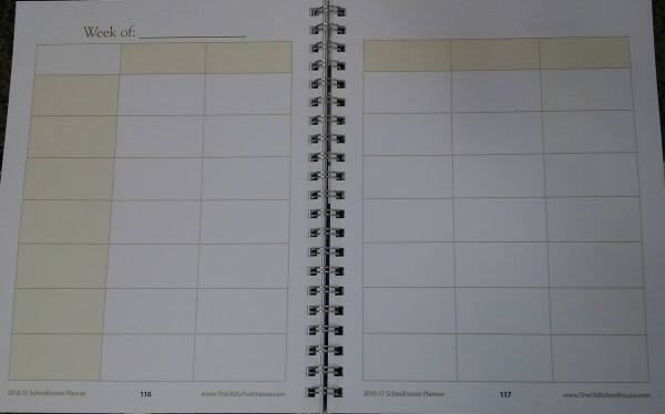 weekly plan page