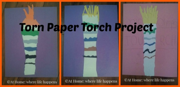 torn paper torch project collage