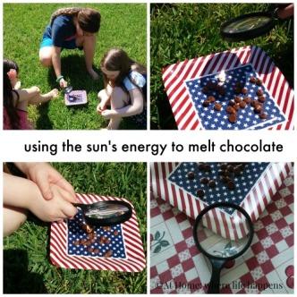 using the sun's energy to melt chocolate