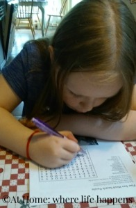 Miss J working the pine trees word search
