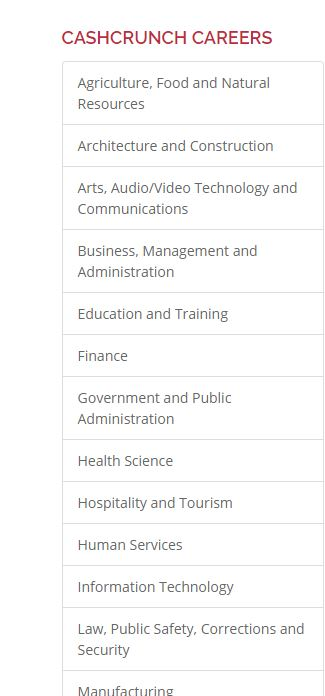 a few career categories