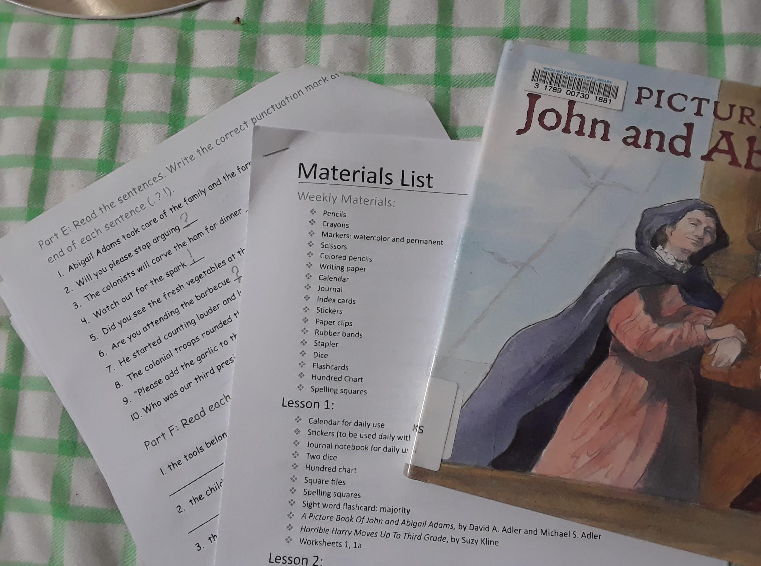 Homeschool Complete Adams study and worksheet