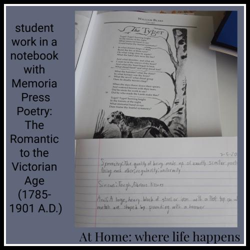Student notebook work Memoria Press Poetry Set