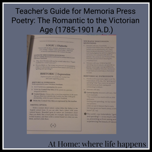 Teachers Guide for Memoria Press Poetry Set