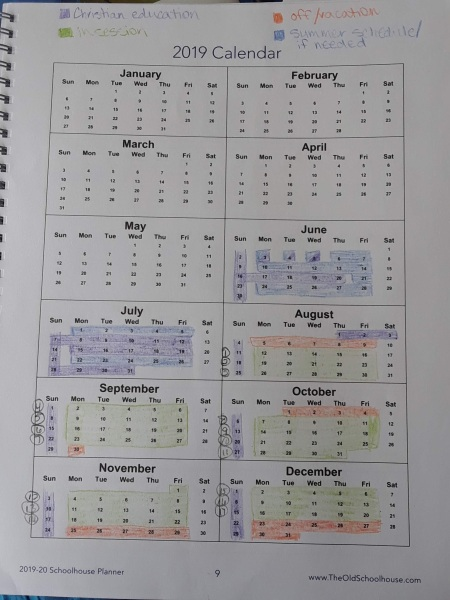 calendar for the year