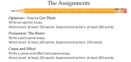 some of the assignments to be done including opinion essay, persuasive essay, and cause-and-effect persuasive essay