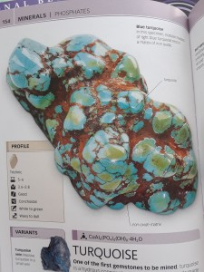 turquoise stone image from DK Smithsonian Nature Guide: Rocks and Minerals, p 154