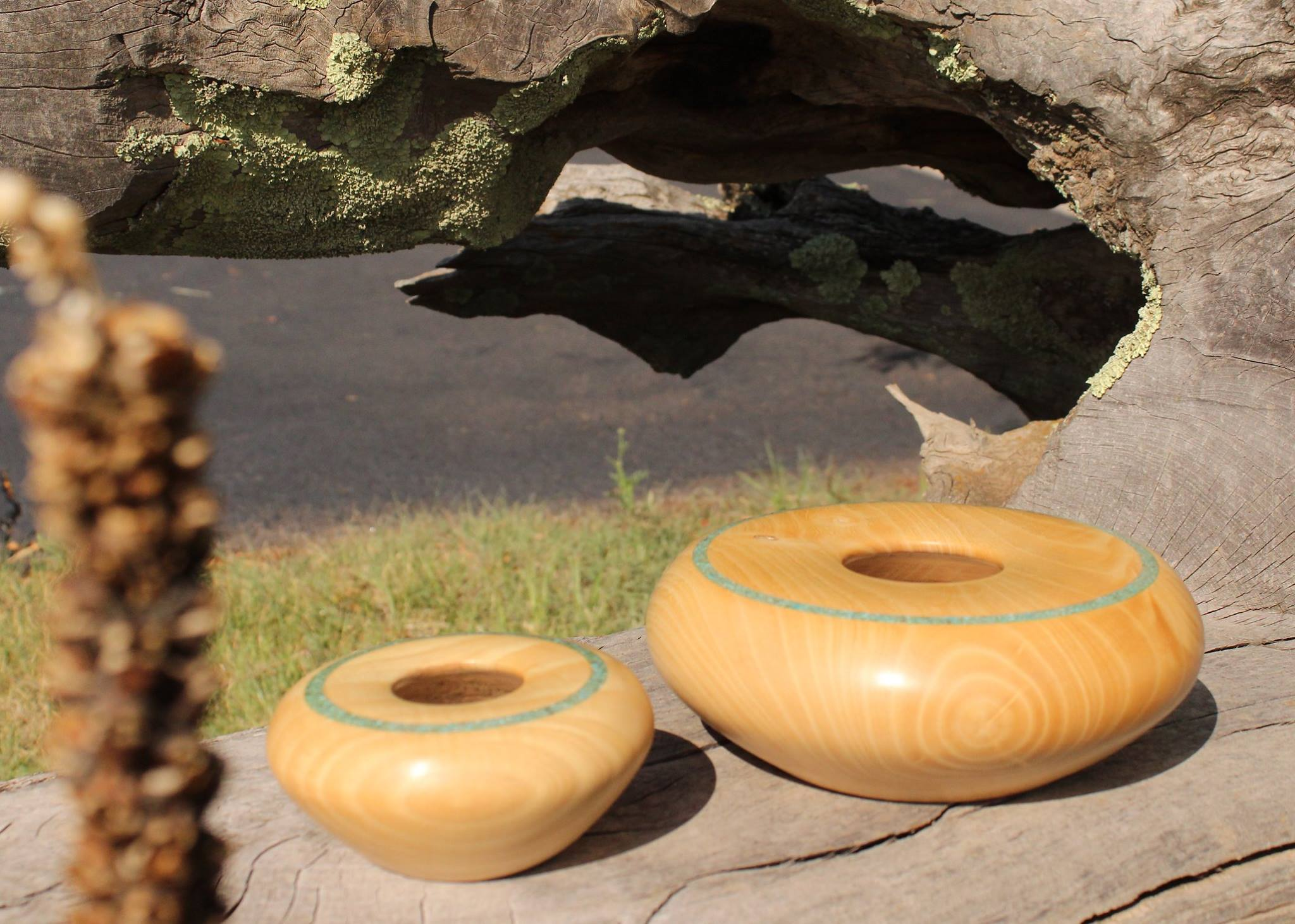Speaking Wood hollow form bowls with turquoise inlay