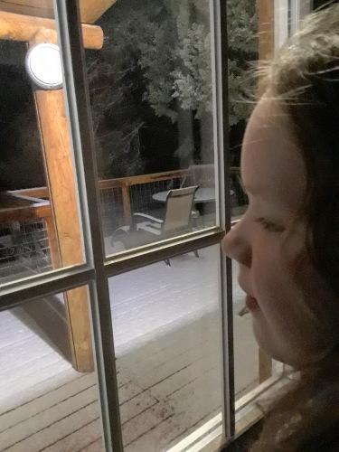 J looking at snow
