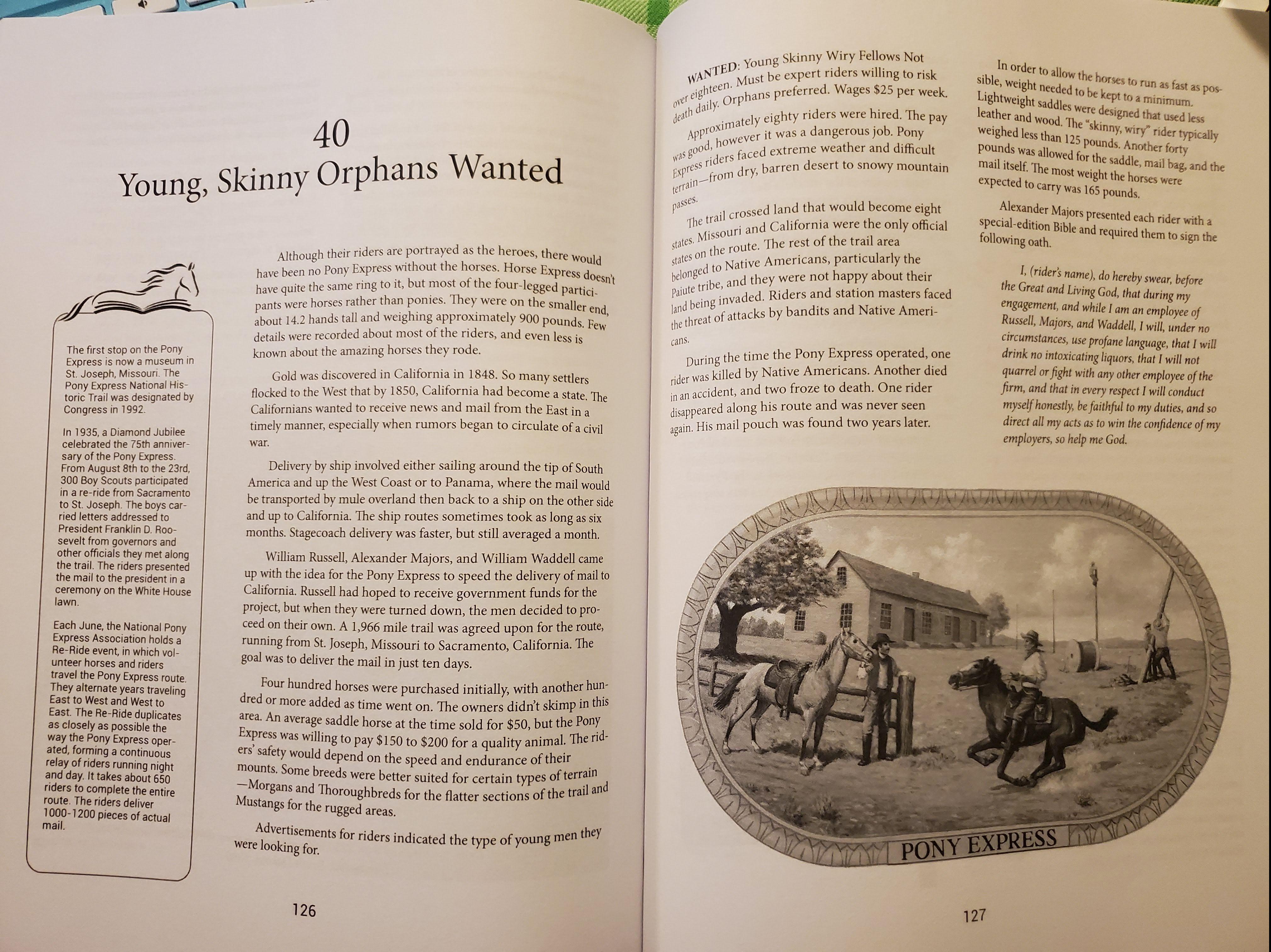 Pony Express chapter from History on Horseback
